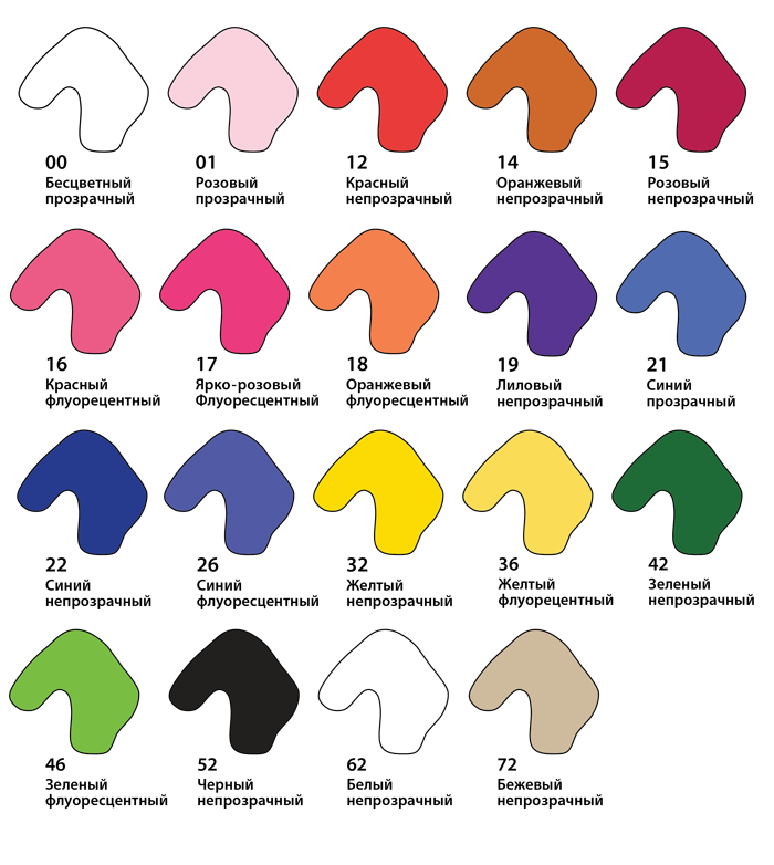Цветовая гамма берушей для защиты от импульсного шума