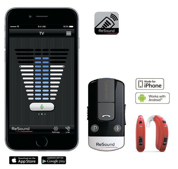 Приложение ReSound Control сопрягается с любым Bluetooth телефоном при помощи гарнитуры Phone Clip +